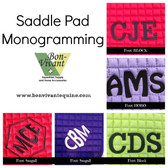 Saddle Pad Monogramming - Some of our Options