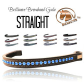 Beautiful Brilliance Straight Browbands by Beasties™.  Shown here in the optional STRAIGHT shape.  The straight browband is an excellent choice for most horse heads.  If your horse has a long forehead, you might consider a V-SHAPE, WAVE or SKINNY WAVE shape to accentuate their face.