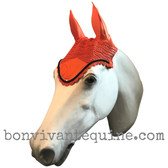 Pumpkin orange with black cording and clear crystal bling trim.   Horse Fly Veil Bonnet Ear Net