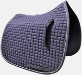 A classic!  Navy Blue Dressage Saddle Pad by PRI.  Shown here with optional white trim/piping.