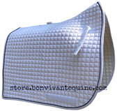 White with Black Piping/Trim Olympic Flag-Tail | PRI Dressage Saddle Pad
