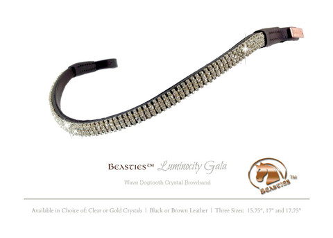 Elegant Clear Crystal Browbands by the Beasties™ Luminocity Gala (Shown here in black leather).