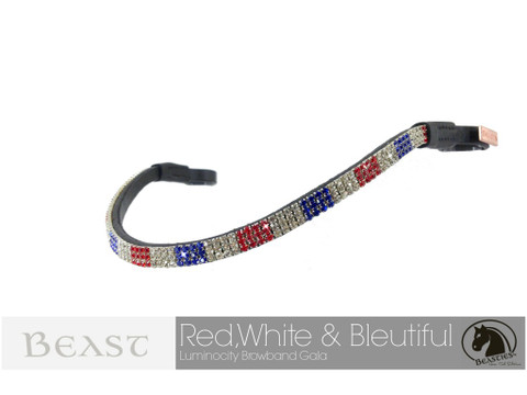 This USA Flag Browband features 3 rows of crystals and 3 blocks of crystal colors:  Red, White and Blue