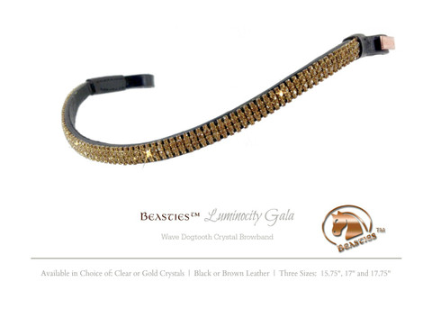 Elegant Gold Crystal Browbands by the Beasties™ Luminocity Gala (Shown here in black leather).