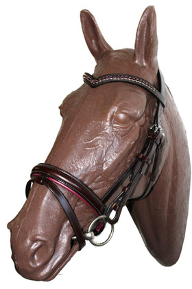 Amethyst Bridle | Brown Leather | Flash Noseband | V-Shaped Swarovski Crystal Browband | Size: Cob/Horse