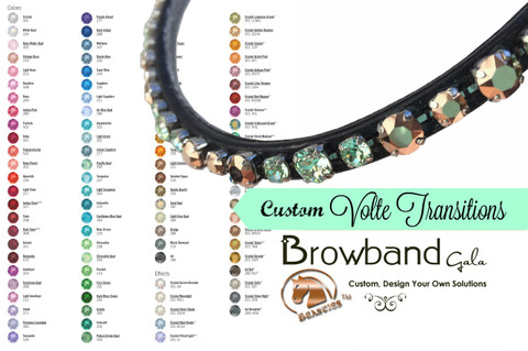 Volte Transitions Custom Browbands Gala - Design Your Own Gorgeous Dressage Browband Using Genuine Swarovski Crystals.