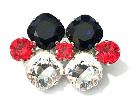 """Red, White and Blue Dressage Brooch / Stock Pin   """"Short Arena"""" by Beasties™"""