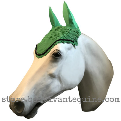 Apple Green Horse Bonnet (Shown here with black trim).