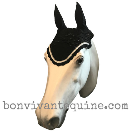 Black Horse Bonnets | Fly Veil | with Bling.  Shown here with optional White-Silver Rope/Cord Trim.
