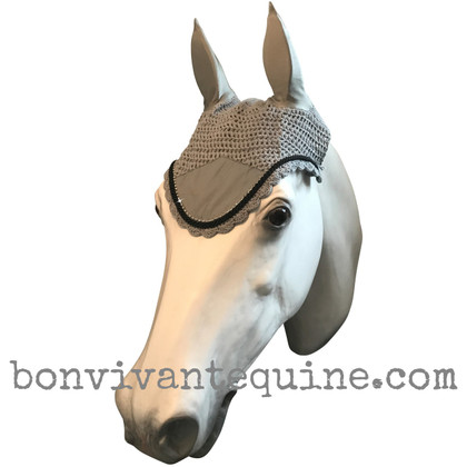Gray Fly Veil / Horse Bonnet (Shown here with black trim).