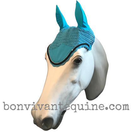 Turquoise / Atlantic Sea Blue with black cording and clear crystal bling trim. Horse Fly Veil Bonnet Ear Net