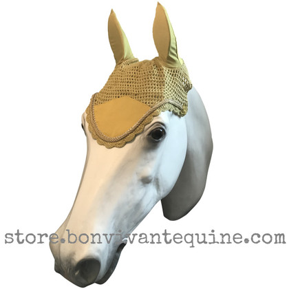 Mustard Yellow with gold cording and clear crystal bling trim. Horse Fly Veil Bonnet Ear Net