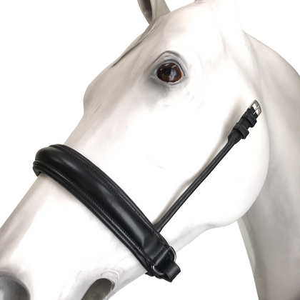 "Leather Crank Cavesson (Noseband without a flash) by Beasties™ Horse Tack Solutions.  Cavesson is 1.75"" Wide.  Shown here with Flat Hanging Straps."