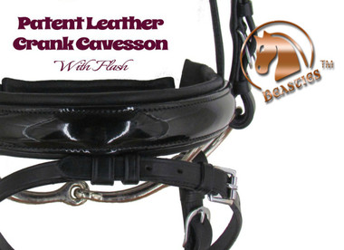 """Patent Leather Crank Flash Noseband by Beasties™ Horse Tack Solutions.  Noseband is 1.5"""" Wide."""