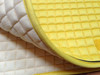 Zoom to View this Pretty Yellow Dressage Saddle Pad Color and the Soft Flannel Underside.