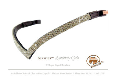 Clear Crystal /Black Leather V Shaped Crystal Dressage Browbands by the Luminocity Gala | Beasties Browband Solutions