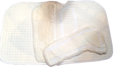 Sheepskin Dressage Saddle Pad has removable inserts for easy cleaning.