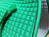 Zoom to View this Kelly Green Dressage Saddle Pad Color and the Soft Flannel Underside.