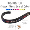 3.     3/3/3 Pattern:  Choose three crystal colors.  Each color will be evenly laid out in sets of three's with the custom browband.