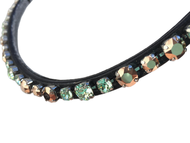 Custom Volte browband with genuine Swarovski Crystals.  Options for this browband...  Browband Shape:  Skinny Wave Leather Color:  Black Crystal Pattern:  3.3 Pattern (uses two crystal colors). Crystal Colors:  Crystal Rose Gold and Chrysolite (mint green).