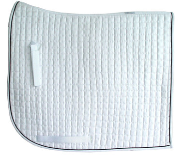 White Olympic Flag-Tail with Black Piping/Trim | PRI Dressage Saddle Pad with Equu-Felt
