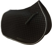 Black All-Purpose English Saddle Pad with White Piping by PRI Equine
