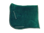 Hunter Green Velvet Swallow-Tail (aka: Swan Tail) with Metallic Gold Piping/Trim | PRI Dressage Saddle Pad with Equu-Felt