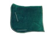 Hunter Green Velvet Swallow-Tail (aka: Swan Tail) with Metallic Gold Piping/Trim | PRI Dressage Saddle Pad with Equu-Felt