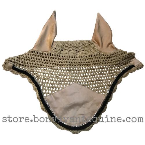 Khaki/Tan/Beige and black bling horse bonnets  horse ear bonnets fly bonnet fly veil