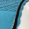 Zoom to view Turquoise / Atlantic Sea Blue with black cording and clear crystal bling trim. Horse Fly Veil Bonnet Ear Net