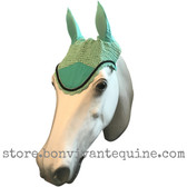 Mint green with black cording and clear crystal bling trim. Horse Fly Veil Bonnet Ear Net
