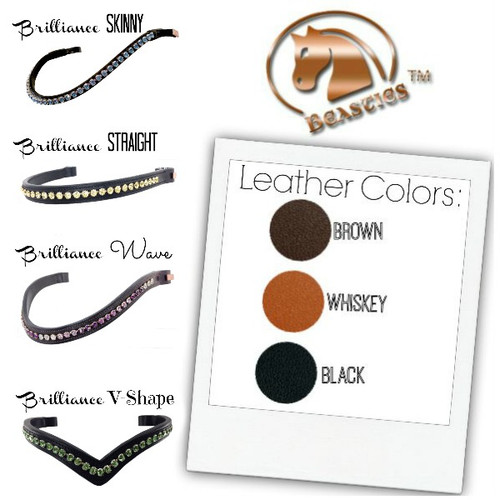 Browband Options.  Choose a Shape and Leather Color.  Then, choose your crystal color and size.