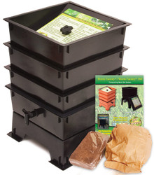 Three Tray Worm Factory Worm Composting Bin - Black