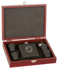 6 oz. Matte Black Stainless Steel Flask Set in Wood Presentation Box