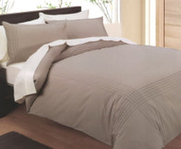 In 2 Linen Mocha Pintuck Double Size Quilt Cover Set