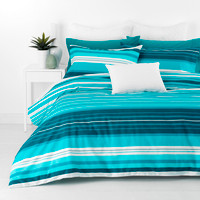 Alex Aqua Striped Queen Size Quilt Cover Set 300TC Cotton