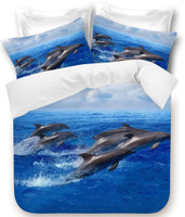 Dolphins Blue Double Size Quilt Cover Set