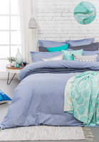 Bambury Charleston Blue Chambray 5 Pce Super King Size Quilt Cover Set