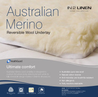 Super King 204 x 204cm  Bed Size Australian Merino Wool Reversible Underlay Underblanket