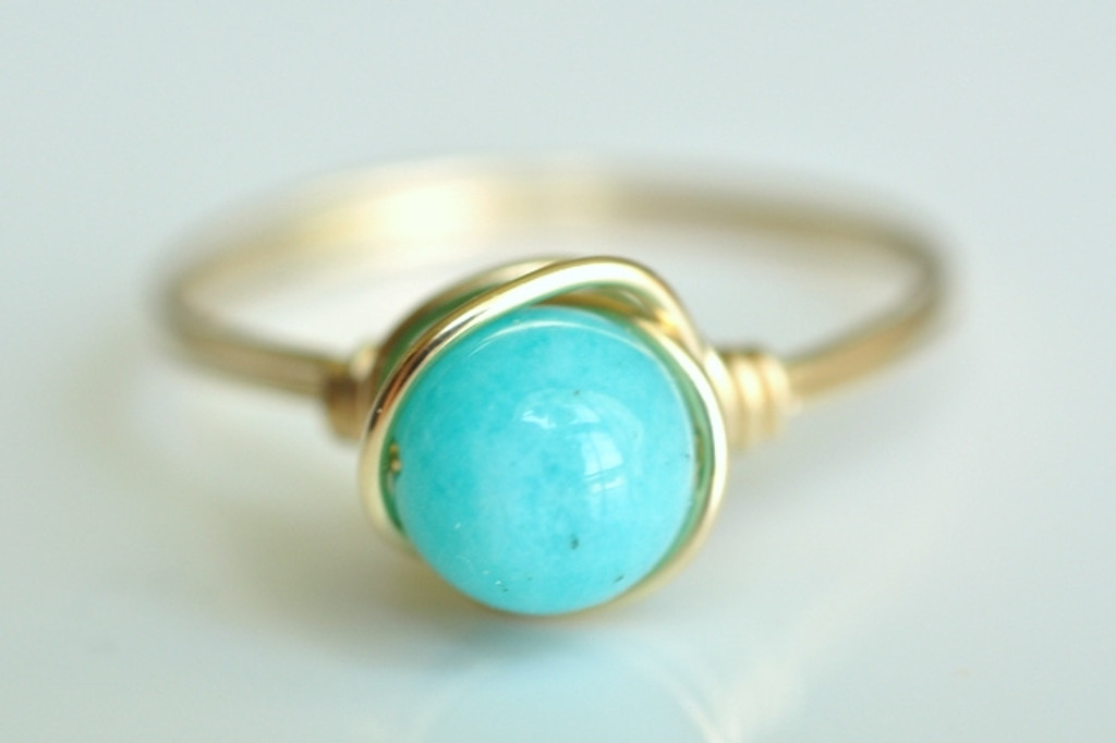 ROBINS EGG bright turquoise blue peruvian opal wire wrap ring