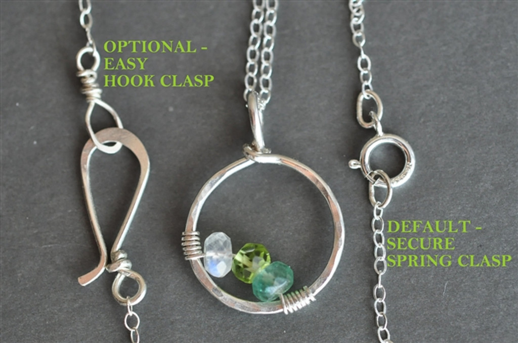 CIRCLE OF LOVE custom genuine mother's birthstone necklace (3 stones)