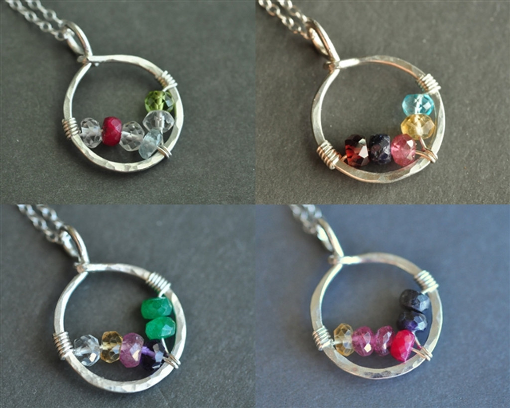 CIRCLE OF LOVE custom genuine mother's / grandmother's birthstone necklace (6 stones)