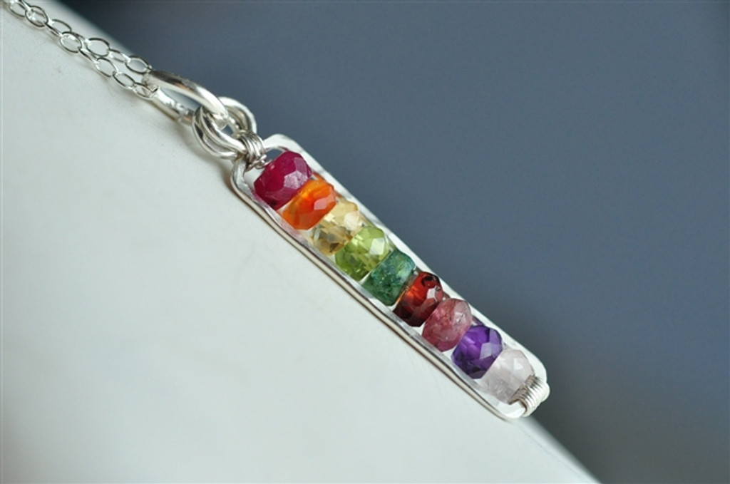custom mothers birthstone necklace bar 5,6,7,8,9,10,11,12 stones