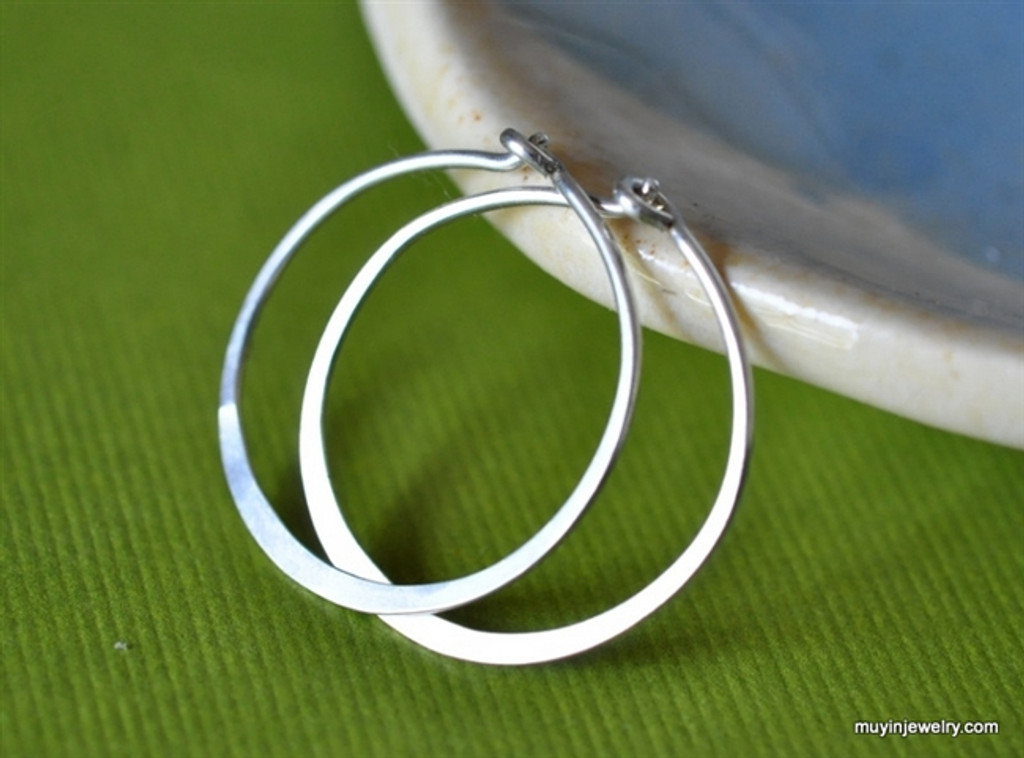 "3/4"" (20mm) artisan forged hoop earrings"