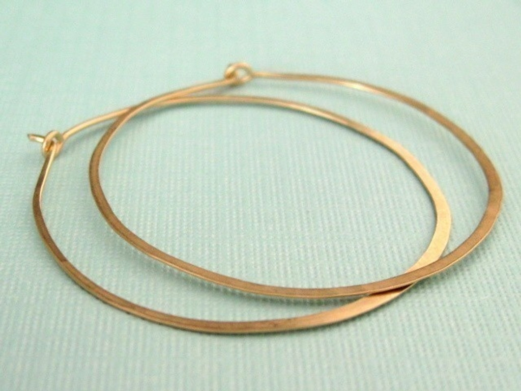 large and skinny 1.5 inch forged hoop earrings