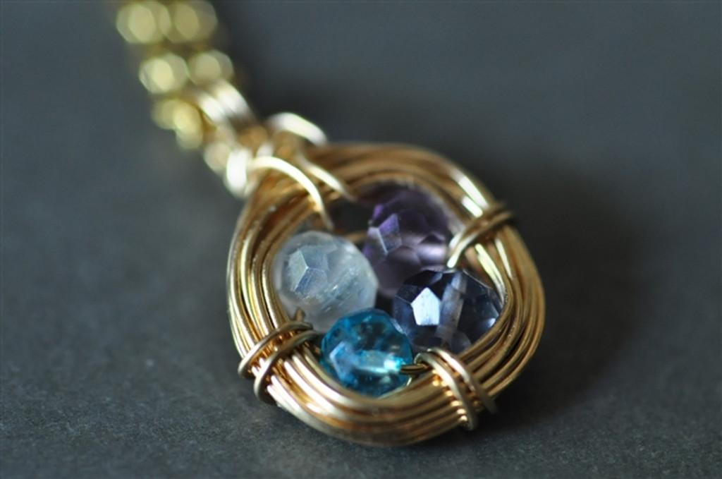 mother's 4 birthstone necklace nest gemstones 14k gold filled