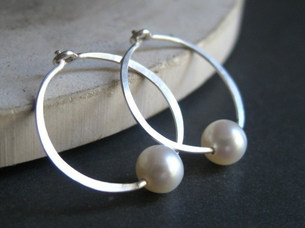 forged hoop earrings with pearl accent