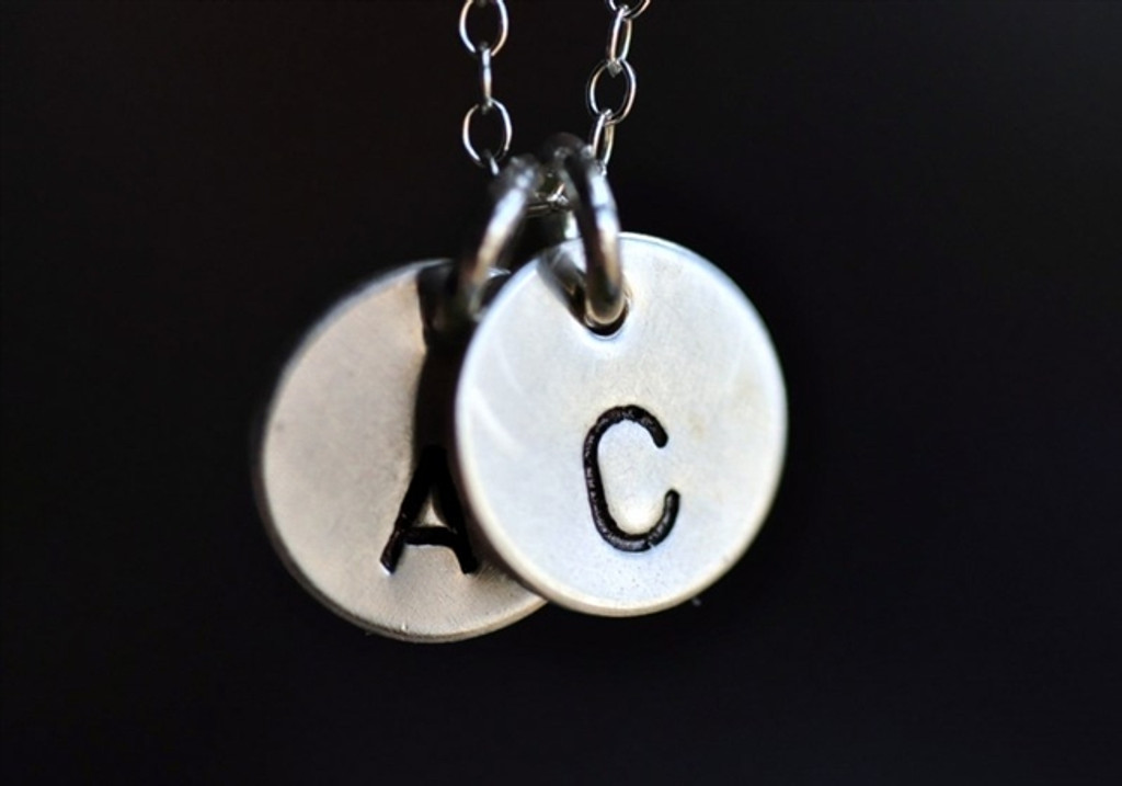 Tiny Initial And Or Symbol Necklace Sterling Silver