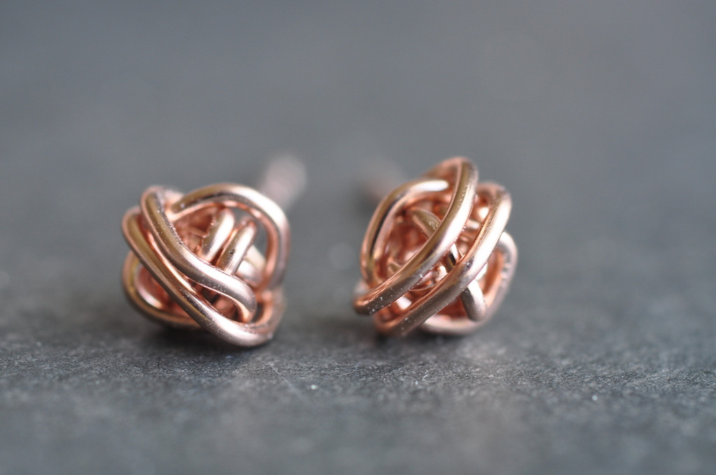 rose gold filled tornado ball stud earrings