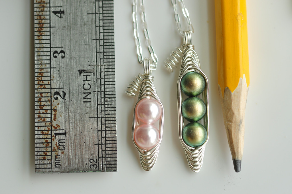 PEAS IN A POD necklace with Custom Colors and Initial Leaf charms  - Swarovski pearls, sterling silver